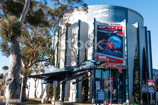 San Diego, California - February 17, 2018:  The San Diego Air and Space Museum, houses a collection of historic aircraft and spacecraft, including a working replica of the Spirit of St. Louis.