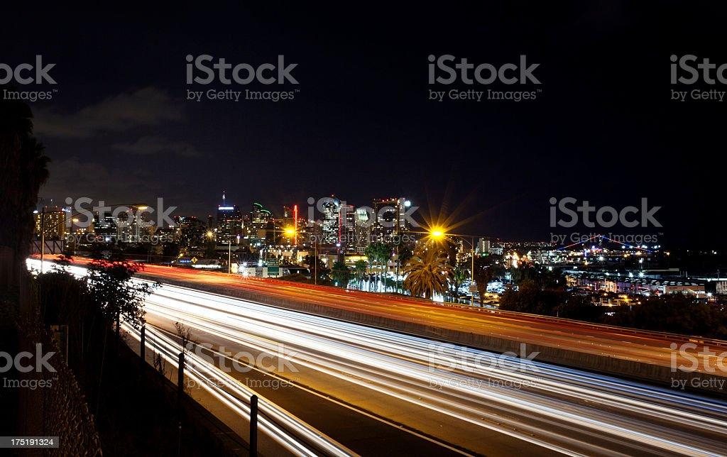 San Diego at night stock photo