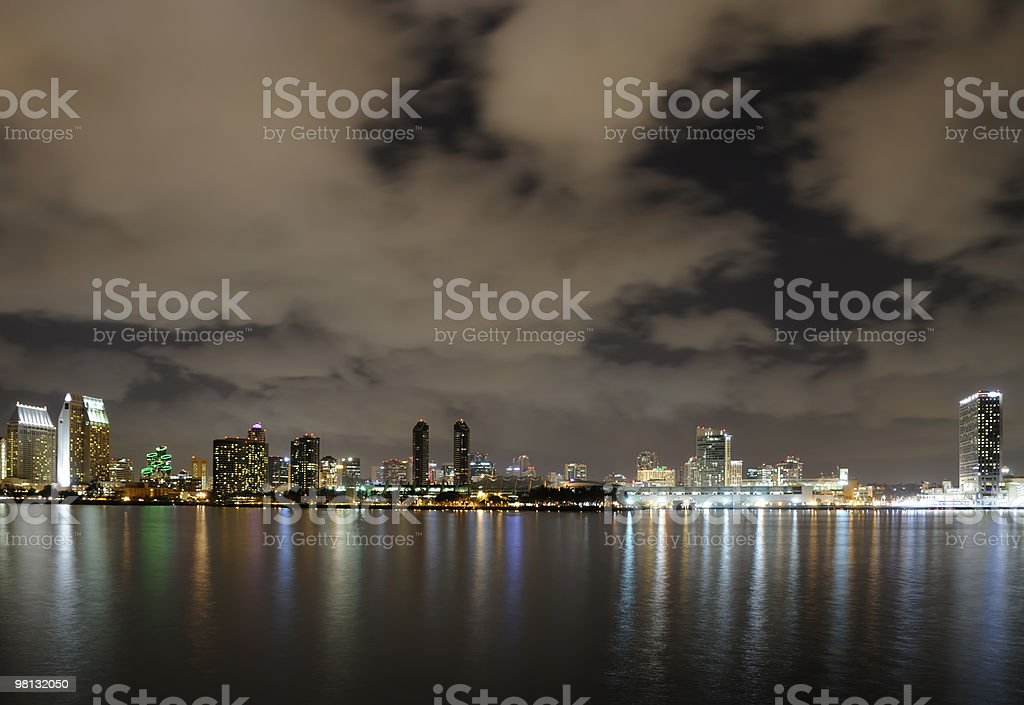 San Diego Bay at Night royalty-free stock photo