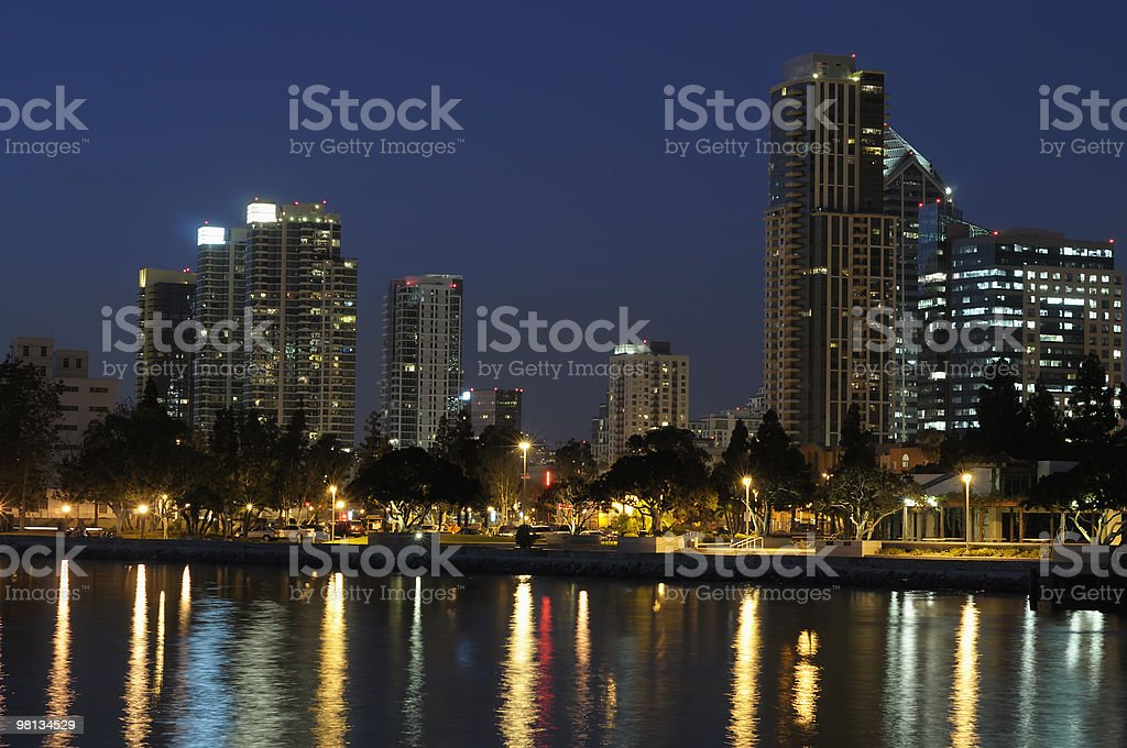 San Diego Bay at Night royalty-free stock photo
