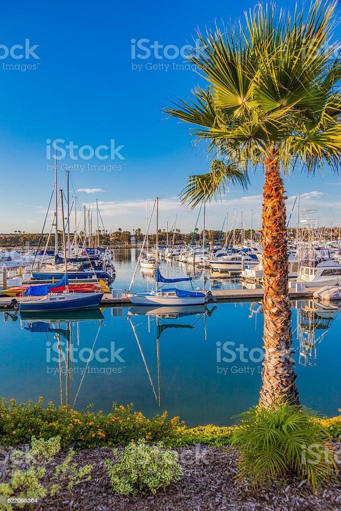 San Diego Bay with recreational boats, California stock photo