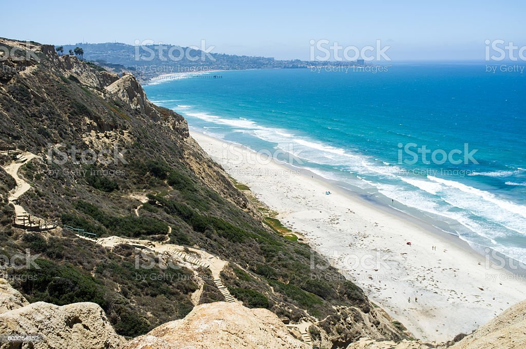 San Diego beach along coastline - Torrey Pines gliderport stock photo