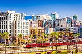 San Diego, California cityscape at the Gaslamp Quarter.