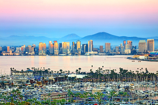 San Diego is a large coastal city right on the Pacific Ocean in Southern California.