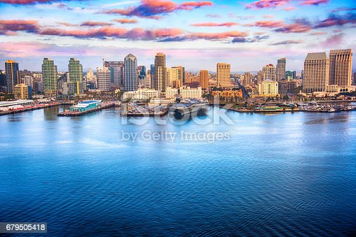 The downtown district of San Diego, California shot after a storm at sunset from an altitude of approximately 500 feet over San Diego Bay during a helicopter photo flight.