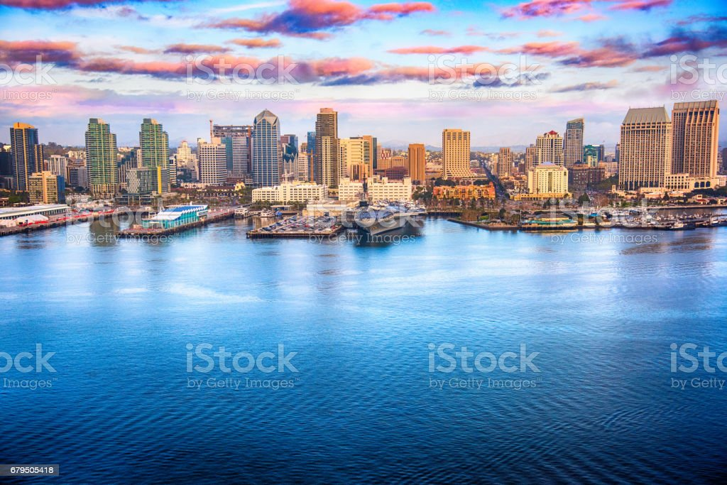 San Diego California Skyline Aerial stock photo
