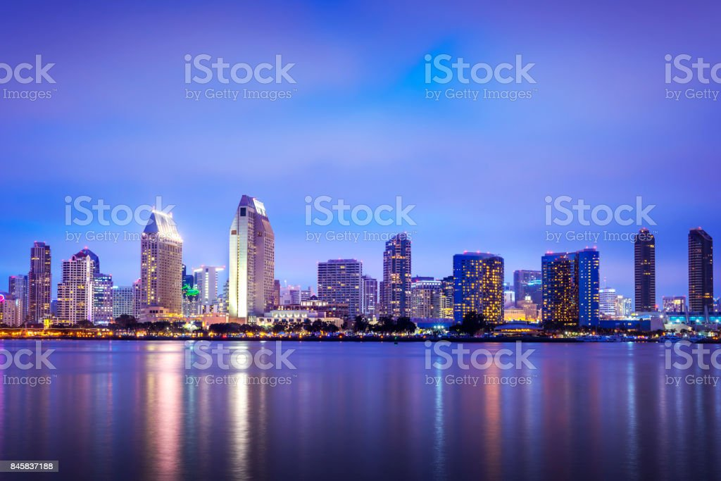 San Diego, California, USA downtown skyline at the Embarcadero stock photo