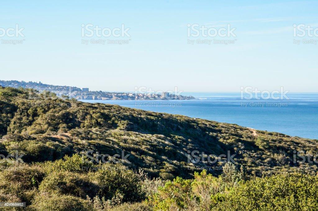San Diego cityscape skyline coast coastline from Torrey Pines overlook in California stock photo