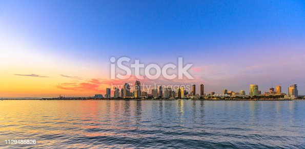 Scenic landscape with sunset colors sky of San Diego skyline with skyscrapers in San Diego Bay. Districts of Waterfront Marina skyline and urban downtown cityscape from Coronado Island.