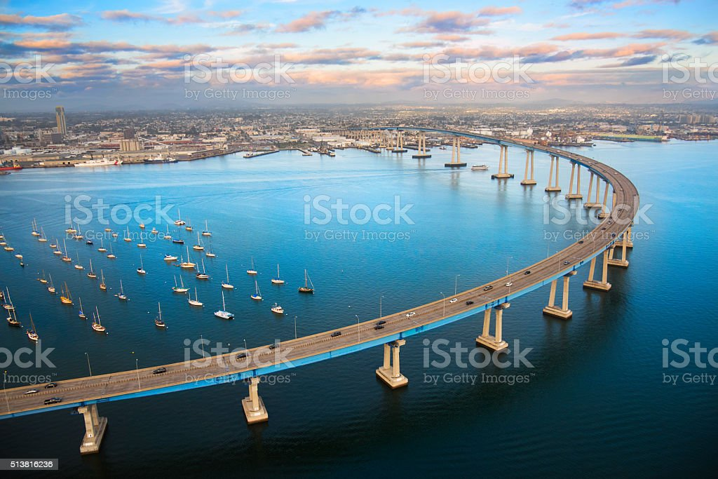 San Diego Coronado Bay Bridge From Above stock photo