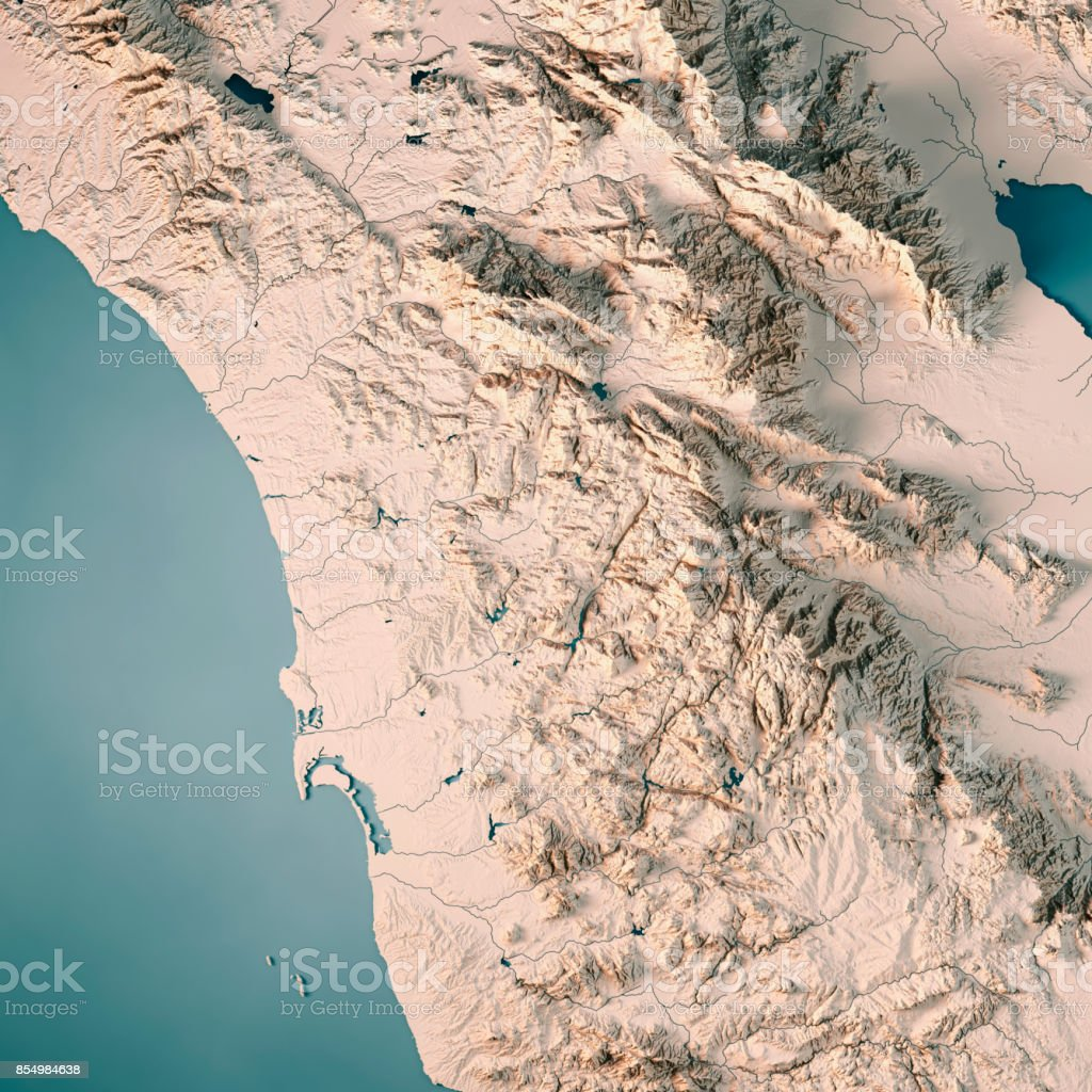 California Map Topography.San Diego County California Usa 3d Render Topographic Map Neutral