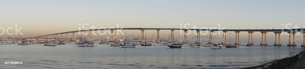San Diego Harbor at Sunset stock photo
