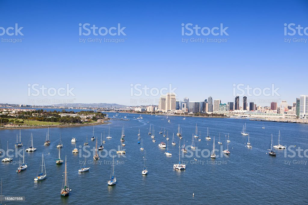San Diego harbor with water and boats stock photo