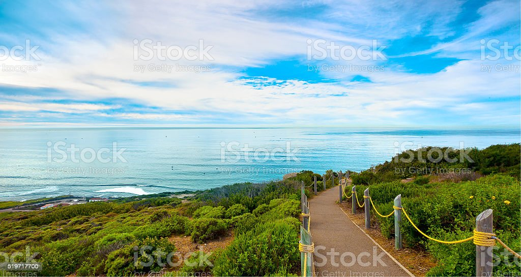 San Diego Hiking Path, Point Loma.  San Diego, California USA stock photo
