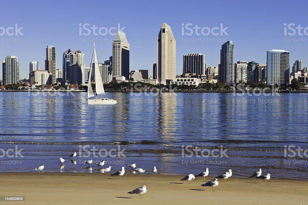 San Diego in California with boats stock photo