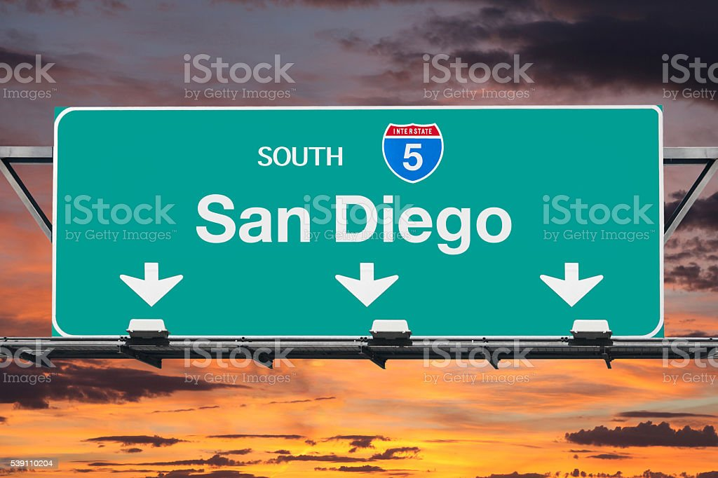 San Diego Interstate 5 South Highway Sign with Sunrise stock photo