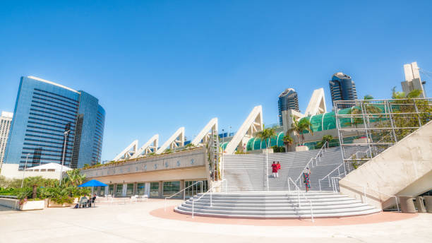 San Diego Modern Architecture. Convention Center and Skyscrapers With Clear Blue Sky on Backgrounds. stock photo
