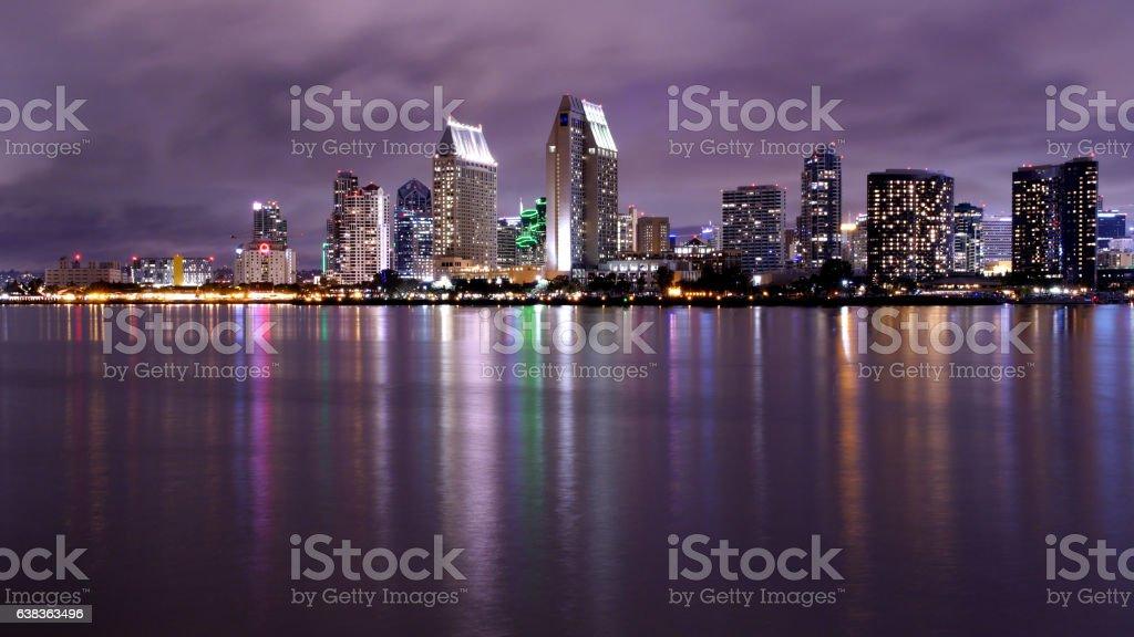 San Diego Night Skyline stock photo