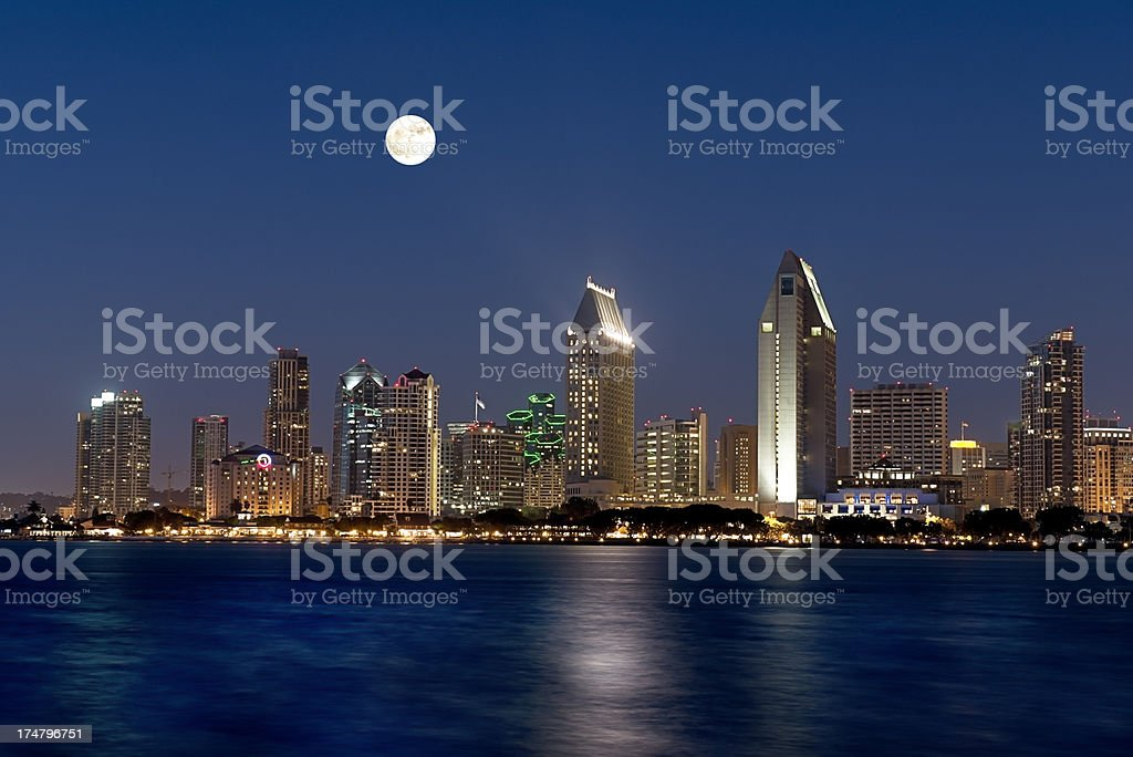 San Diego Nighttime Skyline From Coronado Island stock photo