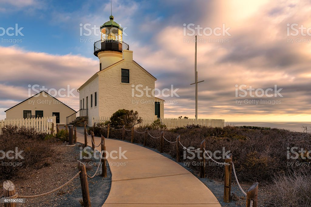 San Diego, Old Point Loma Lighthouse at sunset stock photo