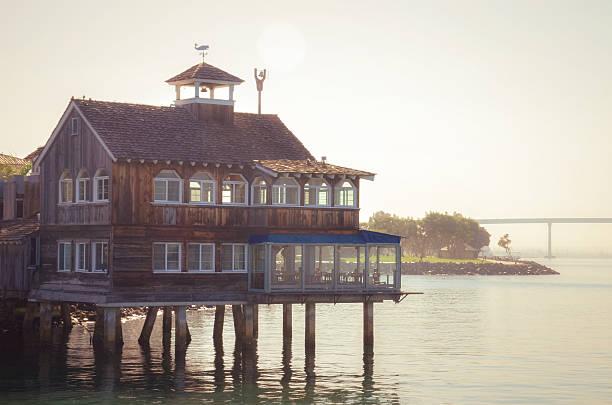 San Diego Pier Cafe in Seaport Village San Diego stock photo