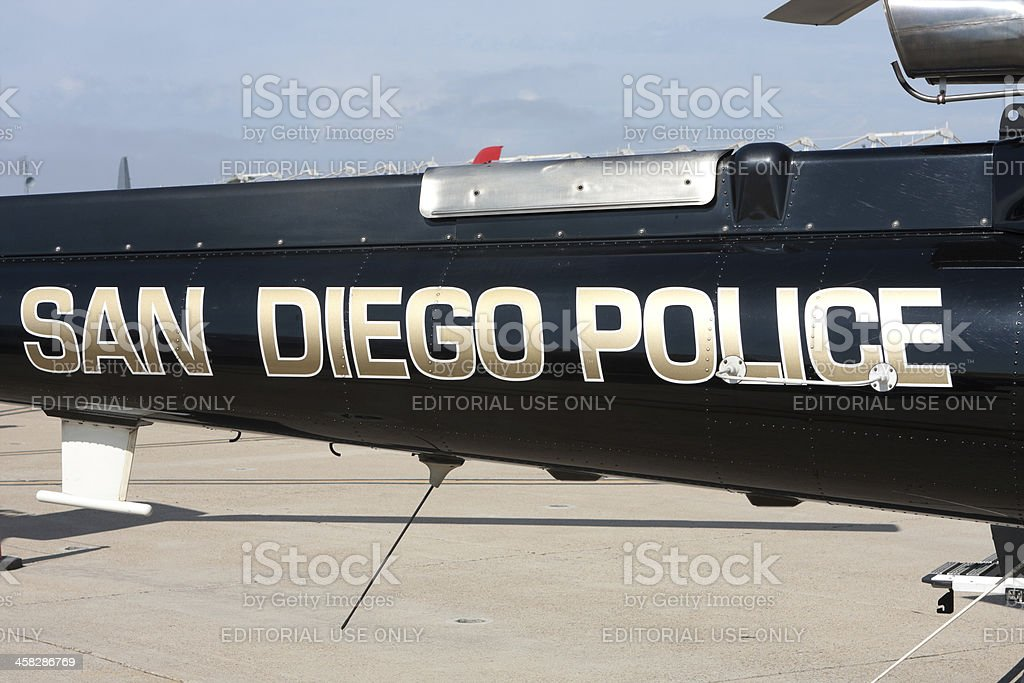San Diego Police Helicopter Tail stock photo