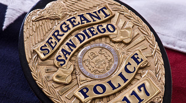 San Diego Police Sergeant's Badge Closeup of the badge of a San Diego Sergeant of the San Diego Police Department sergeant stock pictures, royalty-free photos & images
