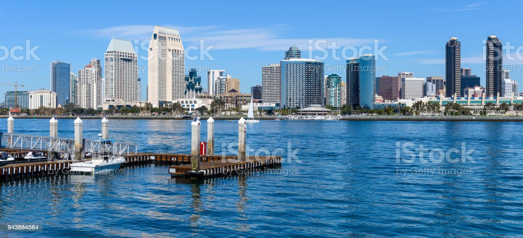 San Diego Skyline A Panoramic Sunny Day View Of Downtown