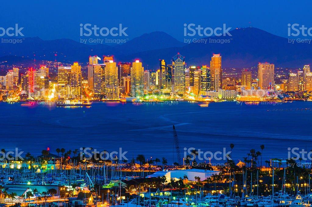 San Diego skyline and bay at dusk stock photo