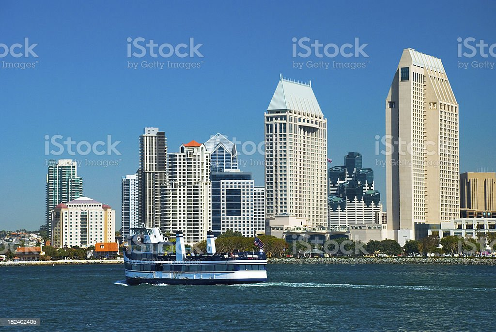 San Diego skyline and ferry boat royalty-free stock photo