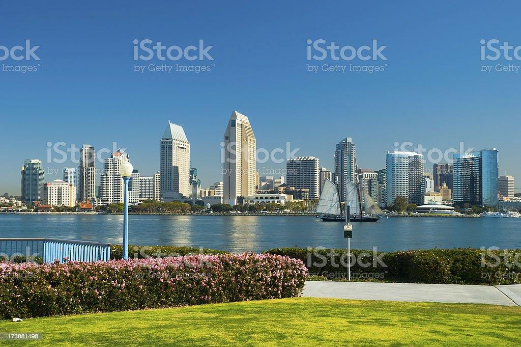 San Diego skyline and park stock photo