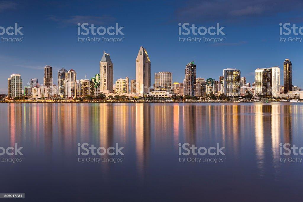San Diego skyline at night stock photo