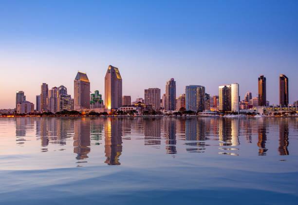 San Diego Skyline at sunset from Coronado stock photo