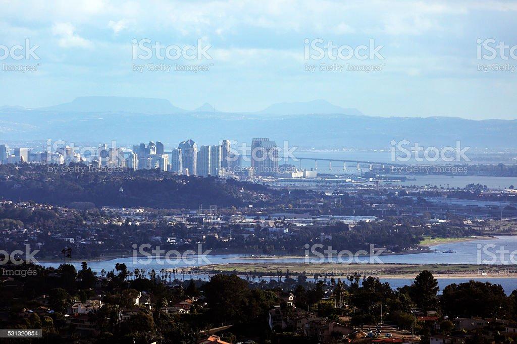 San Diego Skyline From Mt. Soledad stock photo