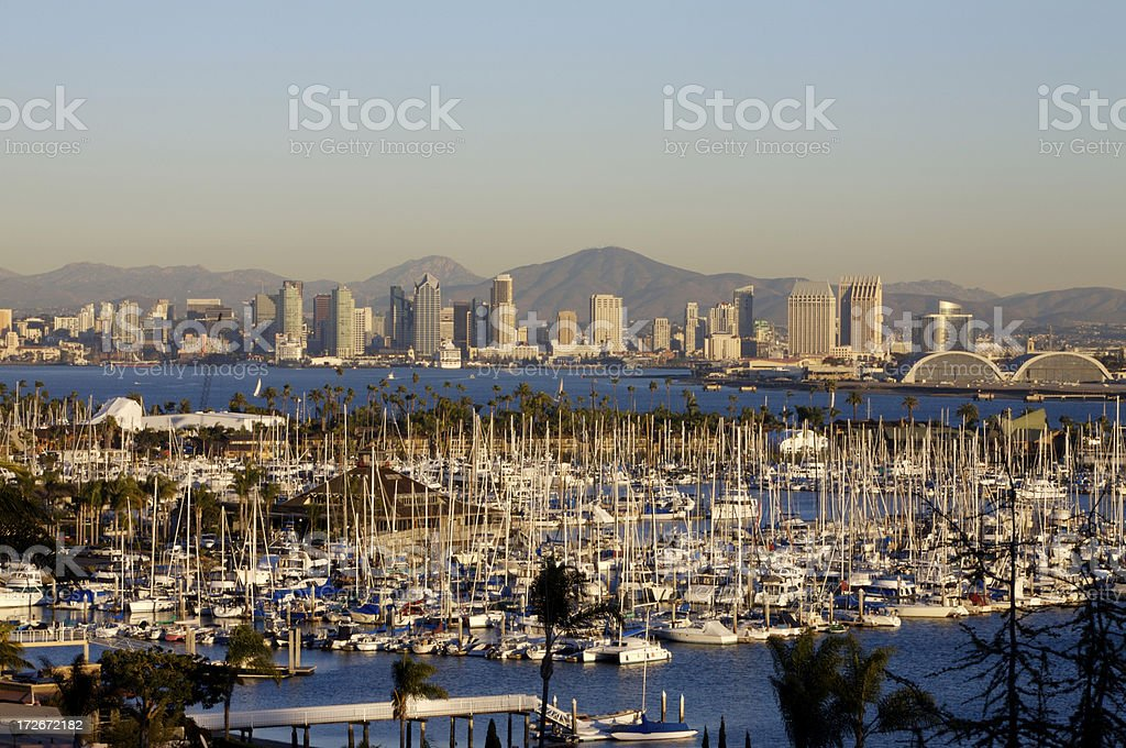 San Diego skyline from Point Loma stock photo