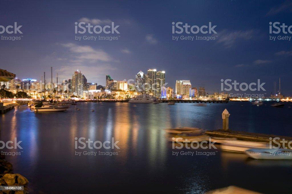 San Diego Skyline in Clear Night royalty-free stock photo