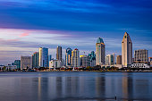 San Diego Skyline from Coronado at Sunset with blue sky and colorful clouds in Southern California.