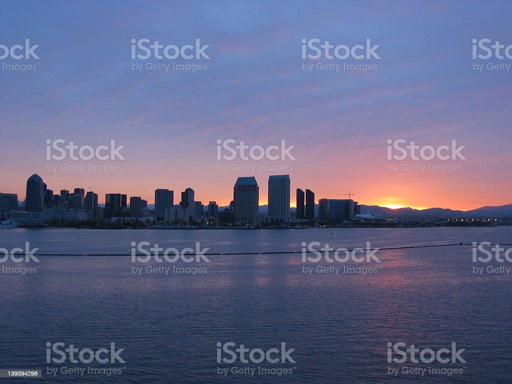 San Diego Skyline Sunrise royalty-free stock photo