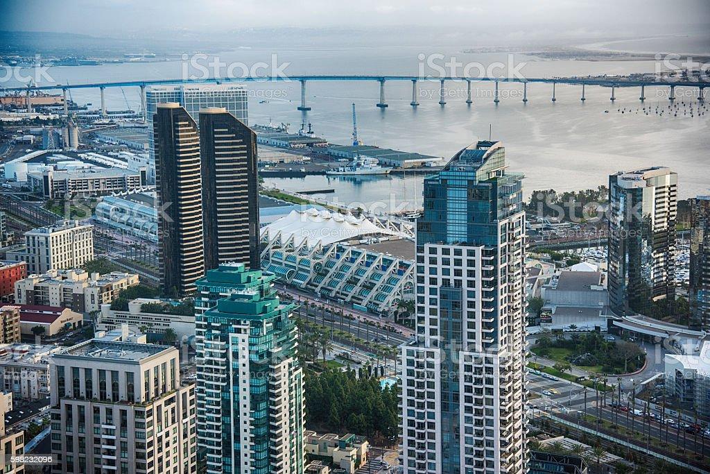 San Diego Skyscraper Aerial stock photo