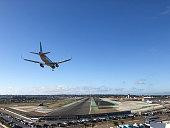 Plane landing at airport in San Diego