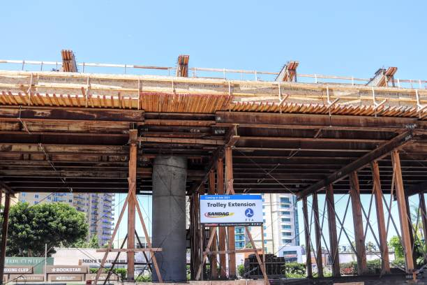 San Diego Trolley Extension Construction at UTC stock photo