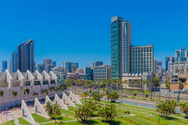San Diego's downtown area with convention center stock photo