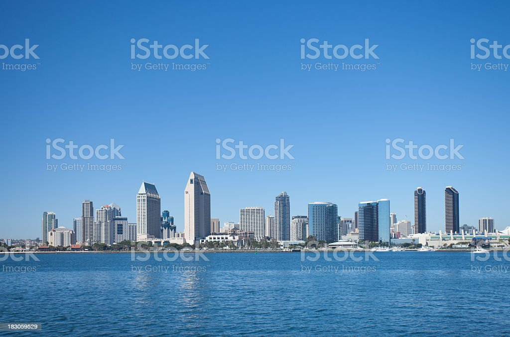 San Diego's downtown skyline on a clear day royalty-free stock photo
