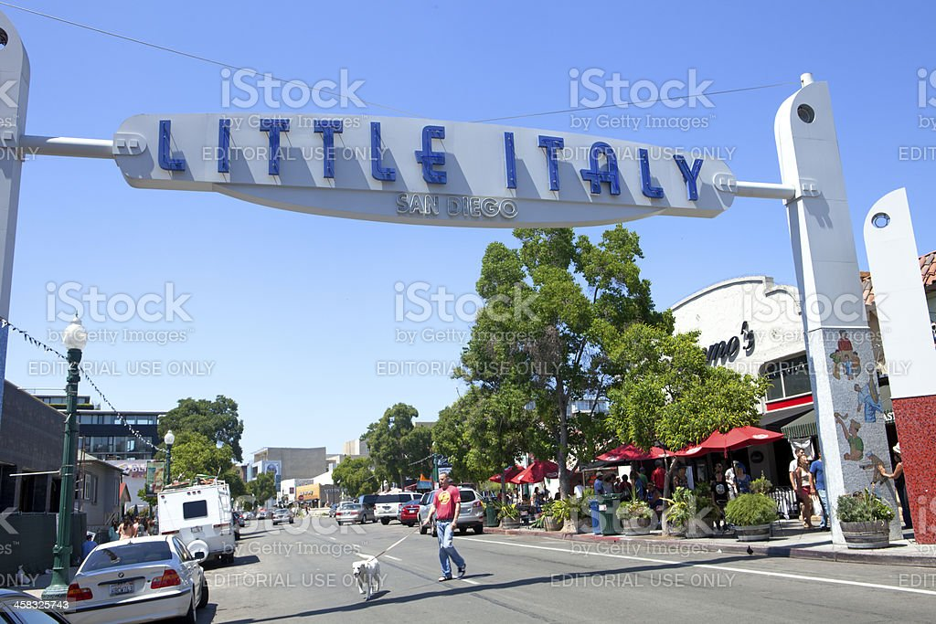 San Diego's Little Italy Sign and Street Scene stock photo