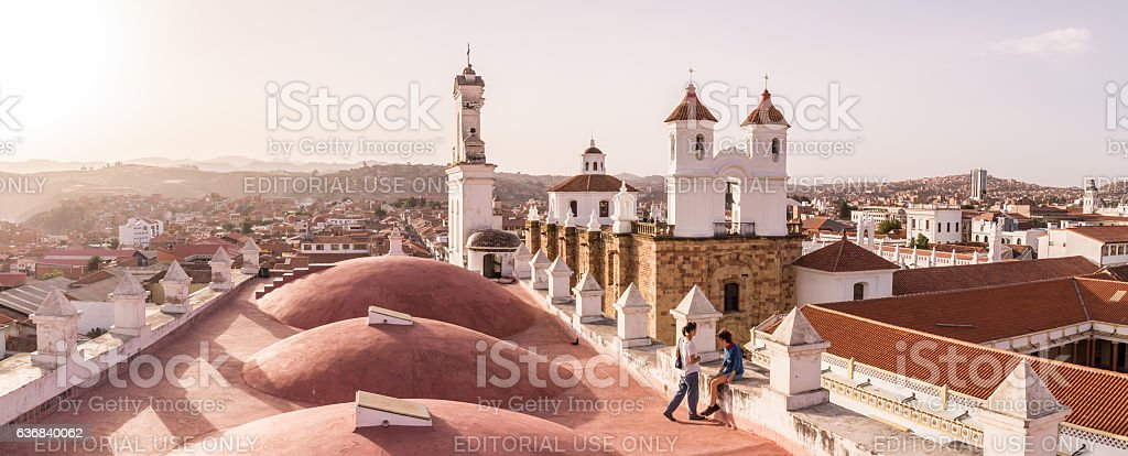 San Felipe Neri monastery from La Merced in Sucre, Bolivia stock photo