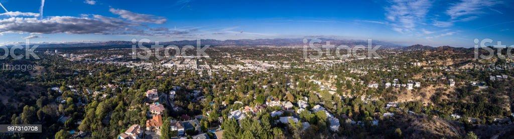 San Fernando Valley - Aerial Panorama stock photo