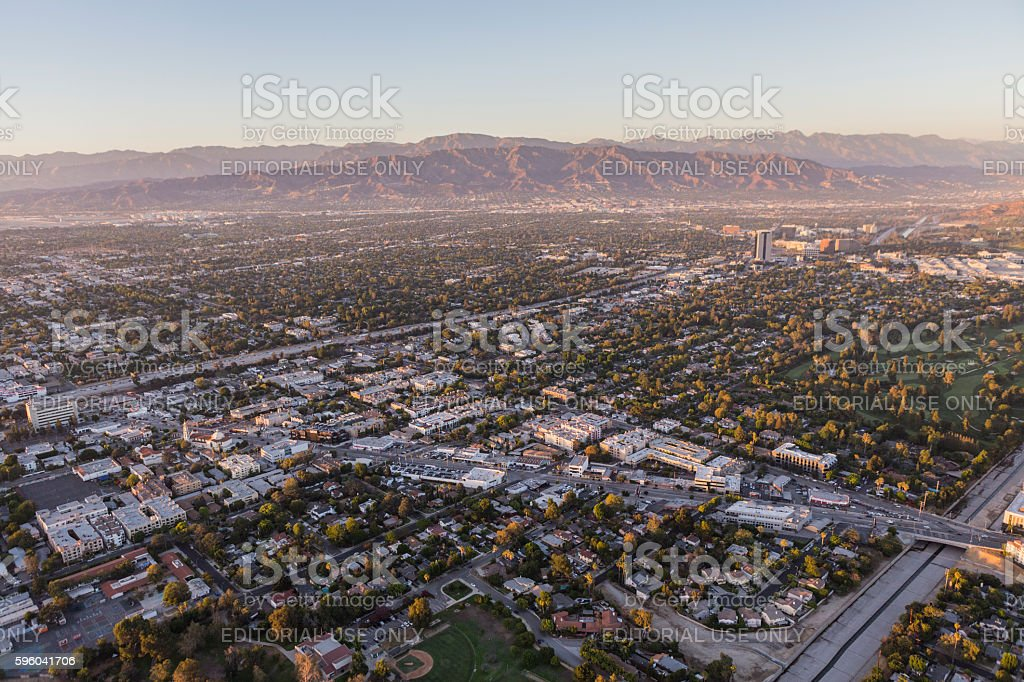 San Fernando Valley Aerial View Towards Lankershim and Cahuenga Blvds stock photo