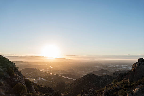 san fernando valley los angeles sunnrise - san fernando valley stock photos and pictures