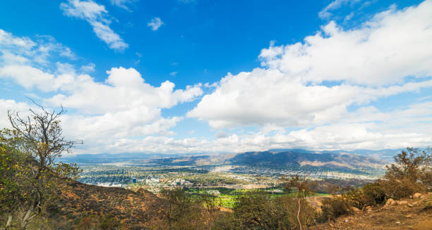 san fernando valley seen from mount lee - san fernando valley stock photos and pictures
