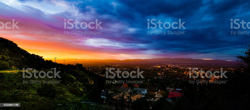 San Fernando Valley Sunset stock photo